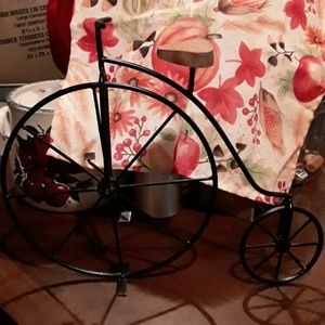 BLACK  WROUGHT  IRON  AND  WOOD BIKE ( OLD STYLE)